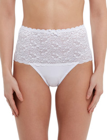Lyric Cotton & Lace Top Full Brief, White product photo