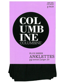 Columbine Plus Anklet, 15D, 2-Pack, Black product photo