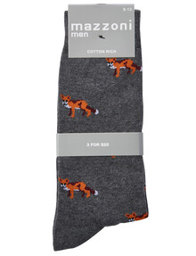 Mazzoni Cotton-Blend Dress Sock, Fox, Grey Marle product photo