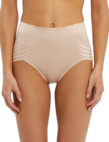Lyric High-Cut Shaping Brief, Stripe, Nude product photo