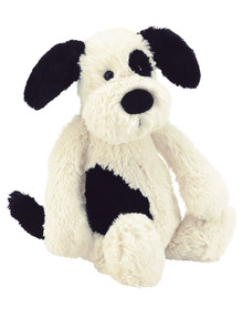 Jellycat Bashful Black and Cream Puppy, Small product photo