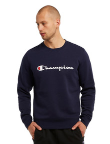 Champion Script Crew Neck Sweatshirt, Navy product photo
