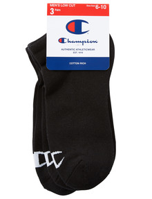 Champion Logo Low Cut Sock, 3-Pack, Black product photo