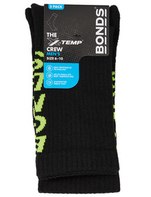 Bonds X-Temp Crew Sock, 2-Pack, Black product photo