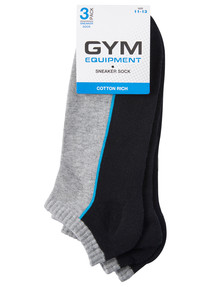 Gym Equipment Cotton Blend Cushion Sole Sneaker Sock, 3-Pack, Black product photo