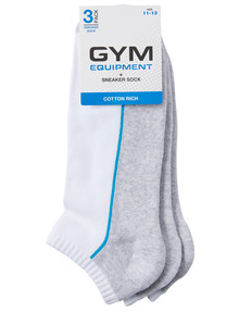 Gym Equipment Cotton Blend Cushion Sole Sneaker Sock, 3-Pack, Grey & White product photo
