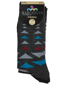 Harlequin Merino Blend Triangle & Stripe Dress Sock, 2-Pack product photo