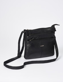 Milano Triple Zip Crossbody Bag, Black product photo