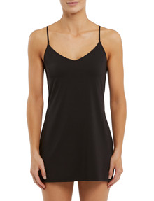 Lyric Microfibre Slip, Tunic Length, Black product photo