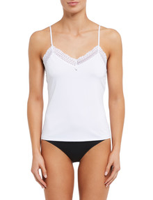 Lyric Microfibre Lace Cami Top, White product photo