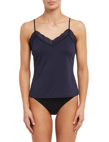 Lyric Microfibre Lace Cami Top, Navy product photo