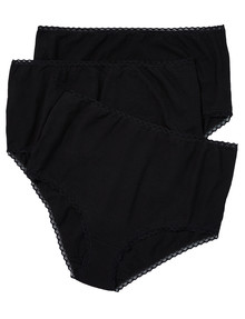 Lyric Curve Full Brief with Lace Trim, 3-Pack, Black product photo