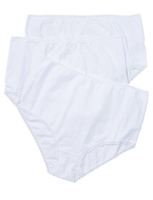 Lyric Curve Full Brief with Lace Trim, 3-Pack, White product photo