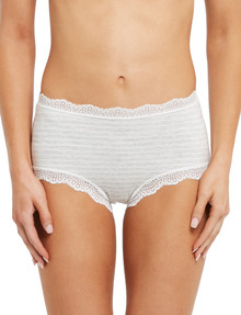 Lyric Cotton & Lace Full Brief, Grey & Ivory Stripe product photo
