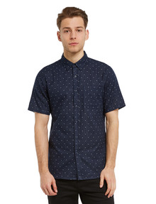 Tarnish Short-Sleeve Double Layer Dot Shirt, Navy product photo