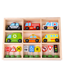 Tooky Toy Wooden Transportation & Street Sign Set product photo