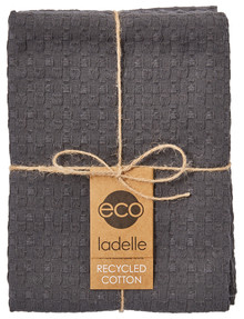 Ladelle Eco Tea Towels, Set-of-2, Dark Grey product photo