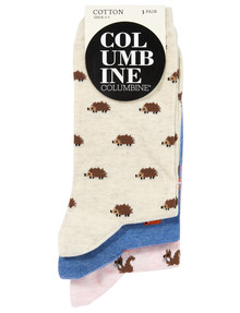 Columbine Crew Sock, 3-Pack, Woodland Animals product photo