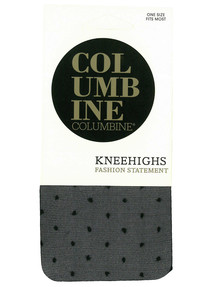 Columbine Fine Spot Knee-High Sock, Black product photo