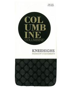 Columbine Sheer Fishnet Knee-High Sock, Black product photo