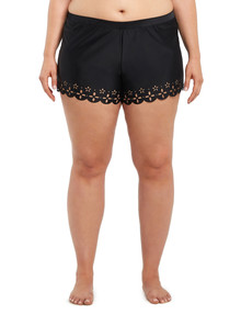 Zest Resort Curve Lasercut Scallop Edge Boardshort, Black product photo