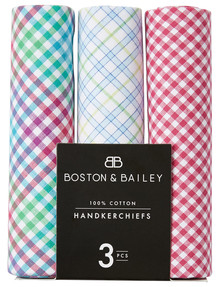 Boston & Bailey Checked Handkerchiefs, 3-Pack, Assorted product photo