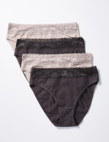 Lyric Hi-Cut Brief With Lace Front Waist, 4-Pack, Espresso/Latte product photo