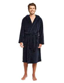 Chisel Hooded, Coral Carved Robe, Navy product photo