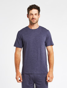 Mazzoni Loungewear Soft-Touch Cotton-Modal Top, Navy Marle product photo
