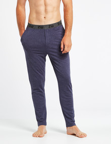 Mazzoni Loungewear Soft-Touch Cotton-Modal Pant, Navy Marle product photo