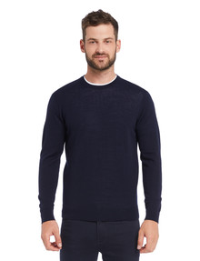 North South Merino Crew Neck Jumper, Navy product photo