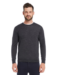 North South Merino Crew Neck Jumper, Charcoal product photo