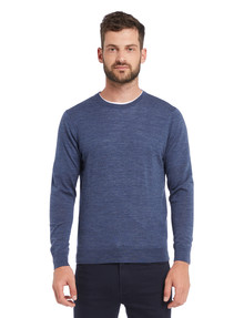 North South Merino Crew Neck Jumper, Denim Marle product photo