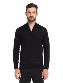 North South Merino 1/4 Zip Jumper, Black product photo