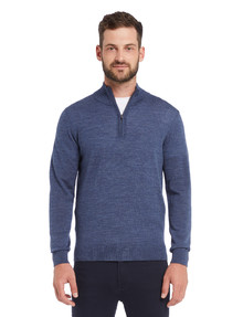 North South Merino 1/4 Zip Jumper, Denim Marle product photo