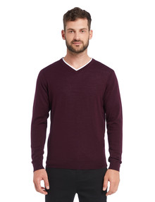 North South Merino V-Neck Jumper, Plum product photo