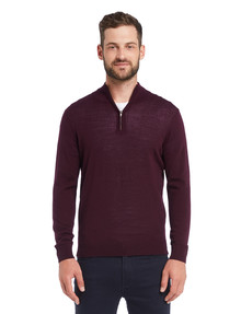 North South Merino 1/4 Zip Jumper, Plum product photo