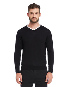 North South Merino V Neck Merino Jumper, Black product photo
