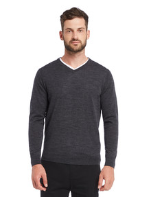 North South Merino V Neck Merino Jumper, Charcoal product photo