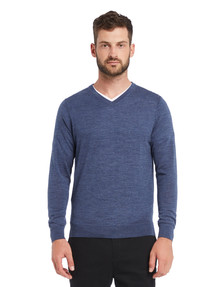 North South Merino V Neck Merino Jumper, Denim Marle product photo
