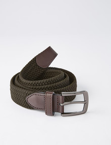 Chisel Braided Stretch Belt, Khaki product photo