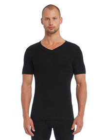 Superfit Merino Rib Short Sleeve V-Neck Top, Black product photo