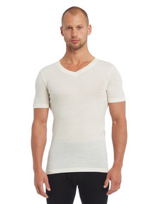 Superfit Merino Rib Short Sleeve V-Neck Top, Natural product photo