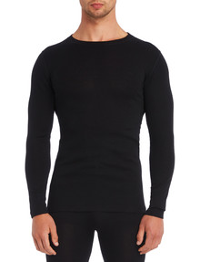 Superfit Merino Rib Long Sleeve Crew Neck Top , Black product photo