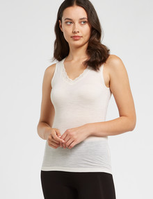 Lyric Thermals Sonata Merino Singlet, Ivory product photo