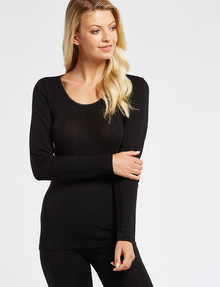 Lyric Thermals Melody Merino Long-Sleeve Top, Black product photo