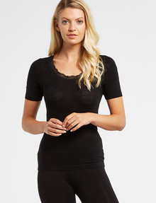 Lyric Thermals Sonata Merino Short-Sleeve Top, Black product photo