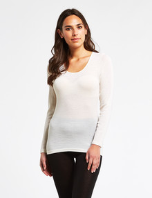 Lyric Thermals Melody Merino Long-Sleeve Top, Ivory product photo