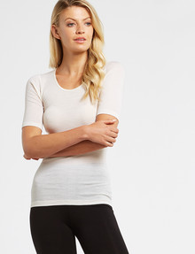 Lyric Thermals Melody Merino Short-Sleeve Top, Ivory product photo
