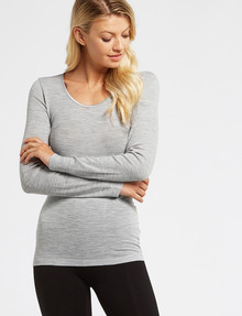 Lyric Thermals Melody Merino Long-Sleeve Top, Grey Marle product photo